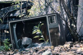 Image of a broken TV in a forest